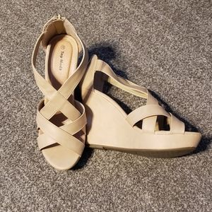 Beige wedges size 10